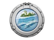 Wandsticker Sticker Wandaufkleber für Badezimmer Bullauge Delfine Insel Wasser