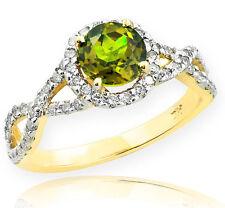 Gold Peridot Birthstone Infinity Ring with Diamonds Engagement Wedding