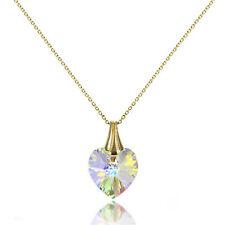 9ct Gold & Aurora Borealis CZ Crystal Heart Pendant / Necklace