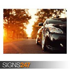 BLACK INFINITI CAR ON THE ROAD (AA235) CAR POSTER - Poster Print Art A0 A1 A2 A3
