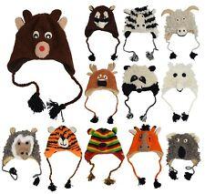 Woolen Handknitted Fleece Lined Trapper Funky Winter Warm Animal Hat Skullies