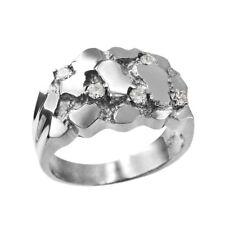 10K Mens White Gold CZ Nugget Ring