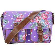 Purple Floral Dot Womens Canvas Satchel Handbag Cross Body Girls School Bag