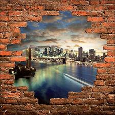Sticker mural trompe l'oeil mur de pierre déco New York Brooklyn réf 911