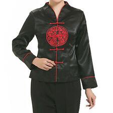 Orientale Cinese Tradizionale Nero in Raso Rosso Motivo Lucky Top Cheongsam lctop 2