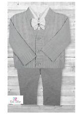 Baby Boy White Outfit Smart Set Grey Cardigan Wedding Suit Christening Baptism