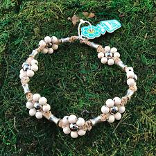 HOTI Hemp Handmade Natural White Flower Wood Beaded Floral Anklet Ankle Bracelet
