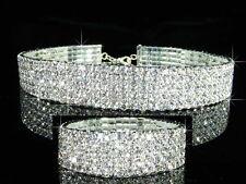 5 Reihen mit Swarovksi Kristall Versilbert Choker Halskette m Armband BN072
