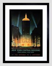 TRAVEL NEW YORK CENTRAL PARK AVENUE VINTAGE ADVERT FRAMED ART PRINT B12X1642