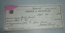 ORDER  OF DEMOLAY DE MOLAY PAYMENT RECEIPT 1933