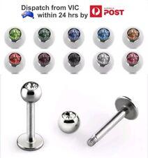 Crystal Colour Gem Ball 316L Surgical Steel 18g Labret Lip Monroe Bar Piercing