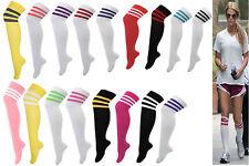 1s Ladies Womens 3 Stripe Over Knee High Socks Sport Referee Fancy Cotton Dress