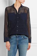 NWT £128 Designer J.CREW Silk Paneled Geo Shirt -WHITE -French Navy UK 4-20