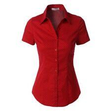 Womens Plus 2Sable Red Polka Dot Short Sleeve Button Down Casual Top 1XL 2XL 3XL