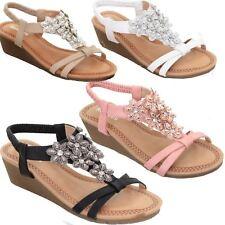 Womens Slip On Padded Floral Diamante Elastic Sling Back Strap Wedge Sandals