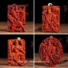 Chinese Lobular Sandalwood Hand-carved Guan Yu Dragon Warrior God Amulet Pendant