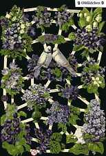# GLANZBILDER  # EF 7367 lila Blumen & Taubenpärchen , Flieder - wunderschön