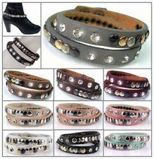 Bracelet Wrap Boot Straps Lederlook Rhinestone Rivets 40cm Fashion Jewellery