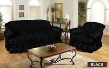 Jacquard BLACK Sofa Cover Settee Slip Cover - 1 , 2 , 3 Seater