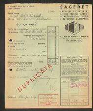 """PARIS (VI° Arrt.) EDITEUR D'ANNUAIRE pour Ets. BATIMENT """"SAGERET"""" en 1957"""