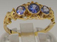 10k Yellow Gold Natural Tanzanite Womens Trilogy Ring - Sizes 4 to 12