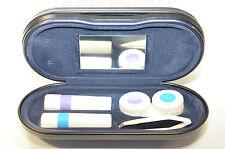 Geschenkidee Kombietui Etui für Brille + Kontaktlinse blau silbe Brillenetui Neu