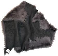 gris foncé peau de mouton Toscana bout argenté cuir d'agneau tissu, vêtements,