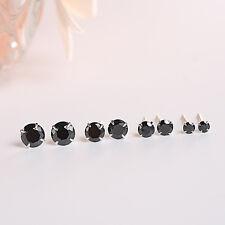 1 oder 3 Paar Ohrstecker echt Sterlingsilber 925 3-8mm Zirkonia schwarz Ohrringe