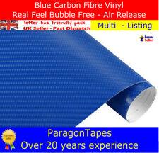 ALL SIZES 4D BLUE CARBON FIBRE TEXTURED VINYL WRAP film Car Bike Tape 1m 2m 3m