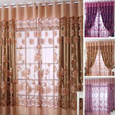 Fenêtre voile décor 100x250cm chaud floral porte TULLE rideaux drapé chambre PUR