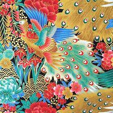 Japanese peacock fabric, metallic birds, green blue gold, oriental cotton, asian