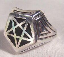 BLACK PENTAGRAM SIGN BIKER RING BR113R HEAVY silver NEW men women adult jewelry