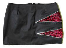 BLACK & RED LEOPARD FUR ZIP MINI SKIRT PUNK CYBER XXS-XXXL ** MADE IN THE UK **