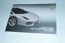 2009 Lamborghini Gallardo LP 560-4 Owners Manual - HandBook U.S.A & Canada