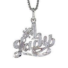 "Sterling Silver #1 Lady Word Pendant / Charm, 18"" Italian Box Chain"