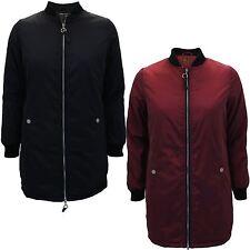 New Ladies Long Varsity Collar Zip Up Bomber Jacket Coat  8-16