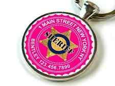 Sheriff protective pet Hot Pink Custom cute 11 colors pet dog cat tag id