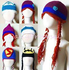 Cartoon Winter Beanie Hat Frozen Superhero Boy Girl Kid Handmade Knit Crochet US