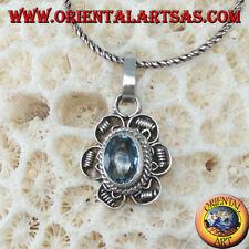 Ciondolo in argento 925 ‰   fiore  con Topazio azzurro ovale fatto a mano