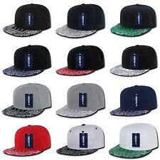 Plain Solid Blank Paisley Bandana Print Brim Flat Bill Snapback Baseball Hat Cap