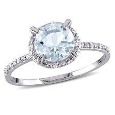 Amour 10k White Gold Aquamarine and Diamond Accent Halo Ring