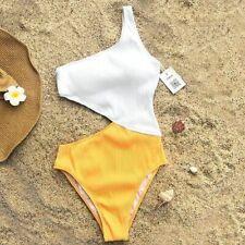 One Shoulder Cut Out One-piece Swimsuit Women Beach Solid Bathing Suit Swimwear