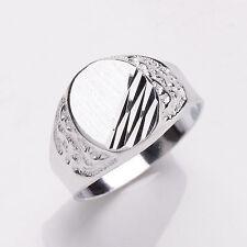 uomo anello argento sterling massiccio placcato platino da uomo SIGILLO MISURE T