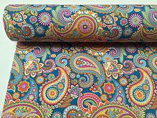 BLUE Paisley tappezzeria tenda tessuto di cotone materiale - 140cm / 55 pollici di larghezza