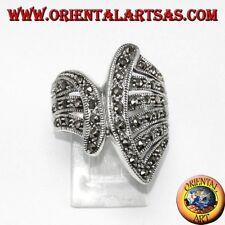 Anello in argento 925 con marcasite a ventaglio gioiello di ottima fattura