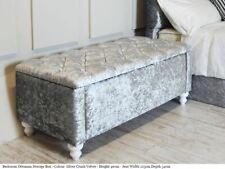 Serenity Ottoman Blanket Storage Box Crush Velvet Diamante Button Wood Legs