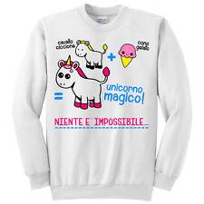 Felpa girocollo donna Niente è impossibile, unicorno kawaii e cono gelato!