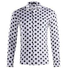 Men's Long Sleeve Shirts Polka Dot Shirt Casual Formal Regular Shirt Top XS-XXL