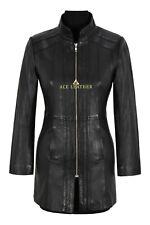 Trench Ladies Leather Jacket Black Nappa Mid Length Coat Fashion Designer 1021