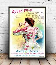 Ayers pills :  Vintage medical advertising Reproduction poster, Wall art.